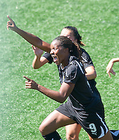 Candice Chapman celebrates after scoring a goal during the FC Gold Pride's victory over the Philadelphia Independence 4-0, to capture the 2010 WPS Championships in Hayward, Calif., Sunday, September 26, 2010.