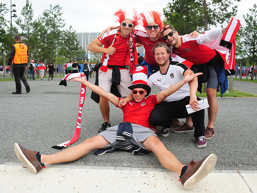 Austria fans enjoy the pre-match build up<br /> <br /> Photographer Kevin Barnes/CameraSport<br /> <br /> International Football - 2016 UEFA European Championship -  Group F - Austria v Hungary - Tuesday 14th June 2016 - Stade de Bordeaux, Bordeaux, France<br /> <br /> World Copyright &copy; 2016 CameraSport. All rights reserved. 43 Linden Ave. Countesthorpe. Leicester. England. LE8 5PG - Tel: +44 (0) 116 277 4147 - admin@camerasport.com - www.camerasport.com