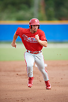 Philadelphia Phillies Austin Listi (24) runs the bases during an Instructional League game against the Toronto Blue Jays on October 7, 2017 at the Englebert Complex in Dunedin, Florida.  (Mike Janes/Four Seam Images)
