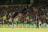 Wesley of Aston Villa in action has his penalty saved.<br /> during Norwich City vs Aston Villa, Premier League Football at Carrow Road on 5th October 2019