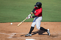 Tyler Sullivan (2) of the Kannapolis Intimidators puts the ball in play during the game against the Hagerstown Suns at Kannapolis Intimidators Stadium on June 14, 2017 in Kannapolis, North Carolina.  The Intimidators defeated the Suns 4-1 in game one of a double-header.  (Brian Westerholt/Four Seam Images)