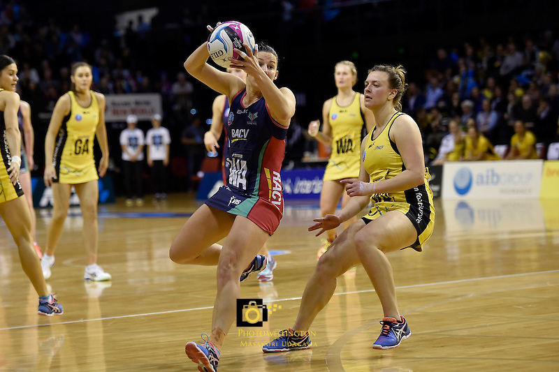 Vixen's Madi Robinson in action during the ANZ Championship - Central Pulse v Vixens at TSB Bank Arena, Wellington, New Zealand on Monday 4 July 2016. <br /> Photo by Masanori Udagawa. <br /> www.photowellington.photoshelter.com.