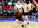 KENOSHA, WI - APRIL 28:  Stevens Institute's Gabe Shankwieler digs a ball at the Division III Men's Volleyball Championship held at the Tarble Athletic and Recreation Center on April 28, 2018 in Kenosha, Wisconsin. (Photo by Steve Woltmann/NCAA Photos via Getty Images)