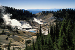 Overlooking geothermal steaming pools at Bumpass Hell, Lassen Volcanic National Park, California