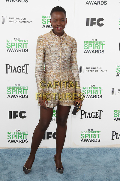 SANTA MONICA, CA - MARCH 1: Lupita Nyong'o attending the 2014 Film Independent Spirit Awards in Santa Monica, California on March 1st, 2014. Photo Credit: RTNUPA/MediaPunch<br /> CAP/MPI/RTNUPA<br /> &copy;RTNUPA/MediaPunch/Capital Pictures