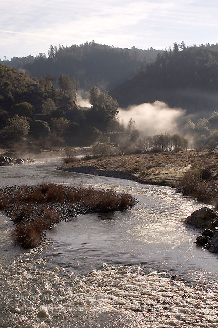 Early morning fog over the confluence of the north and middle forks of the American River, Auburn, CA