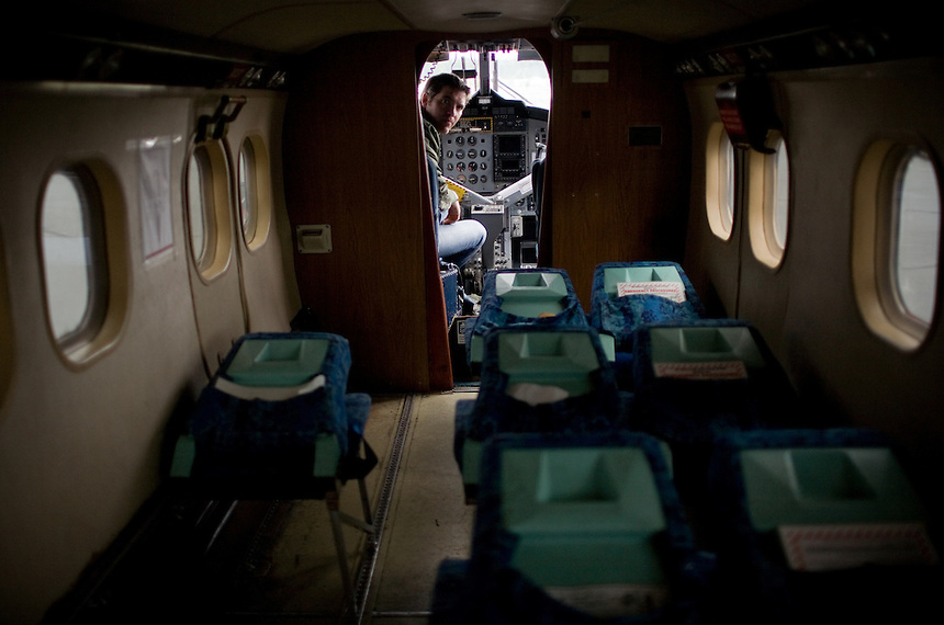 Inside a Twin-otter plane used for smokejumpers at the McCall, ID smokejumper base.