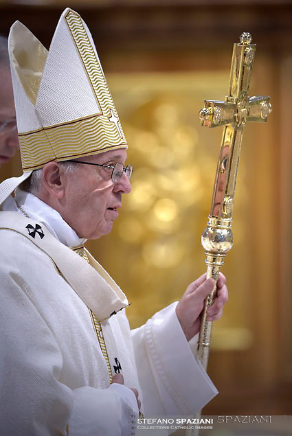 Pope Francis during Episcopal Ordinations  the new Bishops Waldemar Stanislaw Sommertag, Alfred Xuareb, Jose' Avelino Bettencourt  ceremony in St. Peter's Basilica at the Vatican,  on March 19, 2018