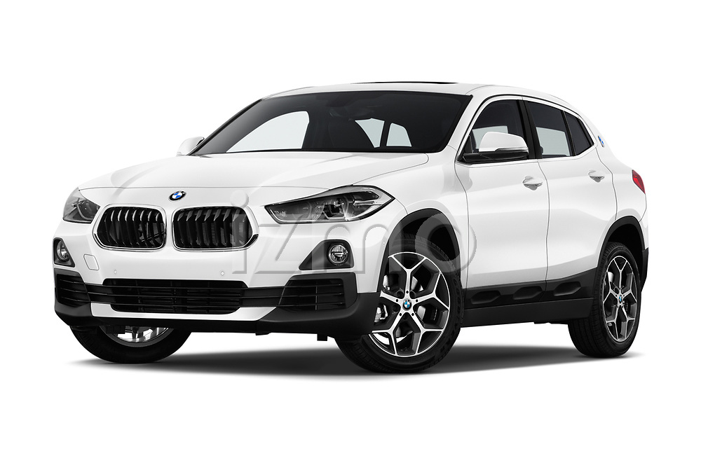 Stock pictures of low aggressive front three quarter view of 2018 BMW X2 Premiere 5 Door SUV Low Aggressive