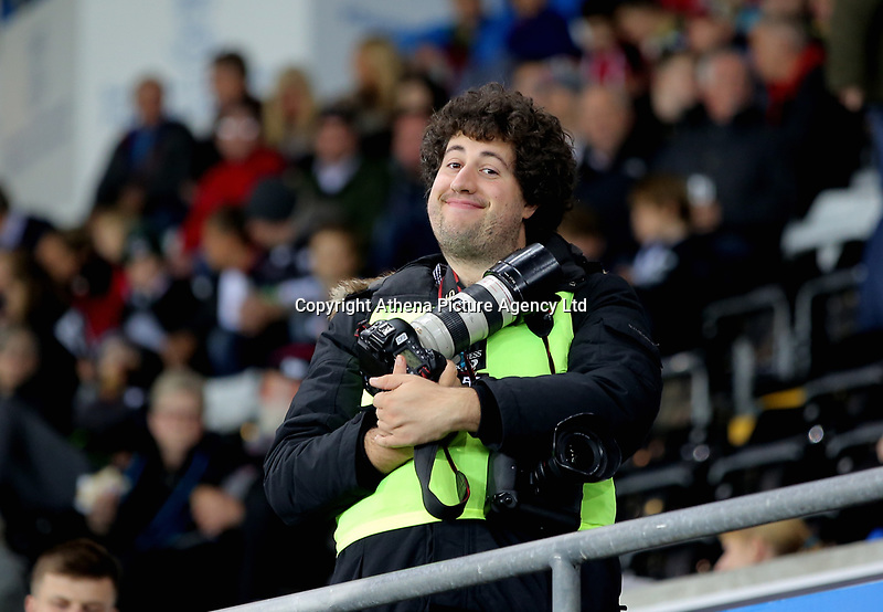 Photographer Chris Fairweather during the Guinness PRO14 match between Ospreys and Dragons at The Liberty Stadium, Swansea, Wales, UK. Friday 27 October 2017