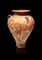 Minoan decorated pithos stirrup jar with floral design , Zafer Papoura 1400-1250 BC; Heraklion Archaeological Museum, black background