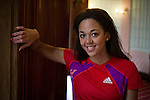 British heptathlete Katarina Johnson Thompson, who is aiming to be selected for the Team GB squad for the 2012 London Olympics, pictured at the Adelphi Hotel, in her native city of Liverpool.