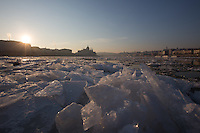 Floating ice is seen on river Danube in front of the Hungarian Parliament building in Budapest, Hungary on January 11, 2017. ATTILA VOLGYI
