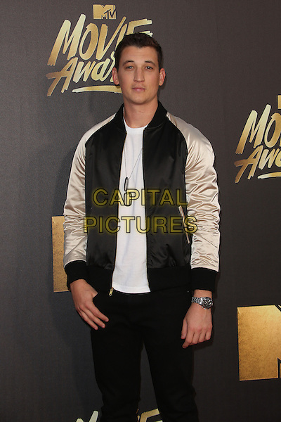 Burbank, CA - April 09 Miles Teller Attending 25th Annual MTV Movie Awards at Warner Brothers Studios On April 09, 2016. <br /> CAP/ADM/FS<br /> &copy;FS/ADM/Capital Pictures