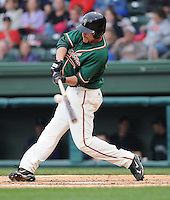 April 19, 2009: Outfielder Kevin Mattison (28) of the Greensboro Grasshoppers, Class A affiliate of the Florida Marlins, in a game against the Greenville Drive at Fluor Field at the West End in Greenville, S.C. Photo by: Tom Priddy/Four Seam Images