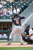 Derrik Gibson (6) of the Norfolk Tides at bat against the Charlotte Knights at BB&T BallPark on June 7, 2015 in Charlotte, North Carolina.  The Tides defeated the Knights 4-1.  (Brian Westerholt/Four Seam Images)