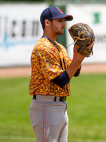 GREEN BAY - June 2015: Kenosha Kingfish pitcher E.J. Trapino (45) during a Northwoods League game against the Green Bay Bullfrogs on June 21st, 2015 at Joannes Park in Green Bay, Wisconsin. Green Bay defeated Kenosha 10-7. (Brad Krause/Krause Sports Photography)