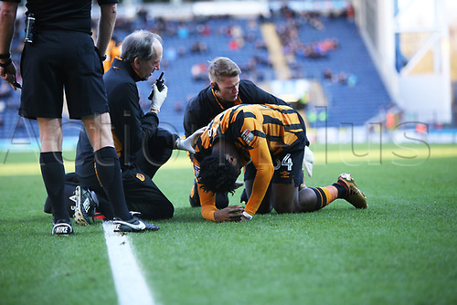 6th January 2018, Ewood Park, Blackburn England; FA Cup football, 3rd round, Blackburn Rovers versus Hull City; Hull City's Ola Aina receives treatment
