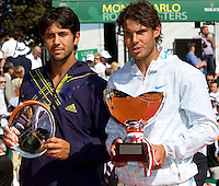 Rafael Nadal and Fernando Verdasco with their trophies after their match. Rafael NADAL (ESP) beat Fernando VERDASCO (ESP) in the final  6-0 6-1..International Tennis - 2010 ATP World Tour - Masters 1000 - Monte-Carlo Rolex Masters - Monte-Carlo Country Club - Alpes-Maritimes - France..© AMN Images, Barry House, 20-22 Worple Road, London, SW19 4DH.Tel -  + 44 20 8947 0100.Fax - + 44 20 8947 0117