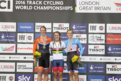 04.03.2016. Lee Valley Velo Centre, London England. UCI Track Cycling World Championships. Woomens scratch final.  Podium of winners  WILD Kirsten (NED) silver, TROTT Laura (GBR), gold,  ROORDA Stephanie (CAN) bronze