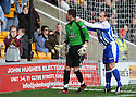 09/02/2008    Copyright Pic: James Stewart.File Name : sct_jspa03_motherwell_v_kilmarnock.JAMIE HAMILL PULLS BACK ALAN COMBE FROM THE MOTHERWELL FANS AFTER ROSS MCCORMACK HITS THE PENALTY WIDE.James Stewart Photo Agency 19 Carronlea Drive, Falkirk. FK2 8DN      Vat Reg No. 607 6932 25.Studio      : +44 (0)1324 611191 .Mobile      : +44 (0)7721 416997.E-mail  :  jim@jspa.co.uk.If you require further information then contact Jim Stewart on any of the numbers above........