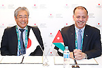 (L-R)  JOCTsunekazu Takeda, Faisal Al-Hussein, <br /> AUGUST 5, 2016 - : <br /> Japan Olympic Association hold press conference at the Japan House in Rio de Janeiro, Brazil. Jordan NOC became partnership for Japan Olympic Association. <br /> (Photo by Sho Tamura/AFLO SPORT)