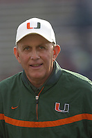 11 November 2006:  Miami coach Larry Coker..The Maryland Terrapins defeated the University of Miami Hurricanes 14-13 November 11, 2006 at Chevy Chase Bank Field at Byrd Stadium in College Park, MD..