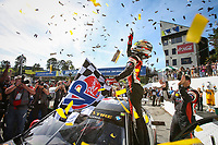 #82 BimmerWorld Racing, BMW M4 GT4, GS: James Clay, Tyler Cooke, Celebrates with the Checker Flag