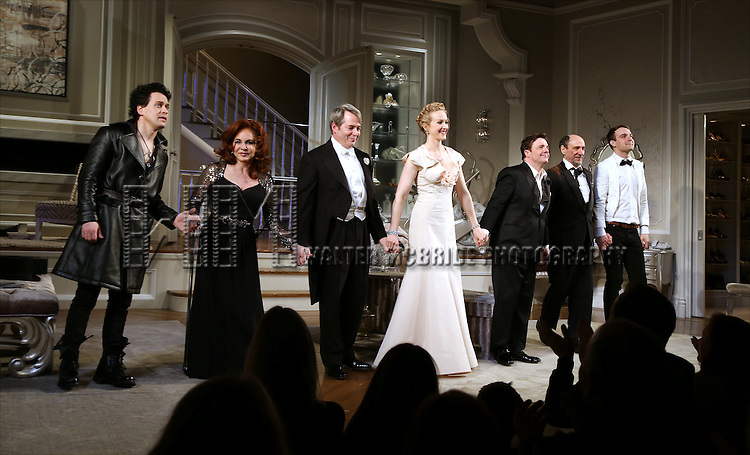 T.R.Knight, Stockard Channing, Matthew Broderick, Katie Finneran, Nathan Lane, F. Murray Abraham and Micah Stock during the curtain call to welcome original cast member Nathan Lane and new cast member T.R. Knight to the production of 'It's Only A Play' at the Bernard B. Jacobs Theatre on March 31, 2015 in New York City.