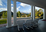 View of the Rocky Mountains from the porch of the historic Stanley Hotel on a summer morning in Estes Park, Colorado