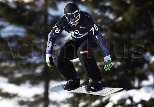 24.01.2013. Snowboarding FIS World Cup  SBX qualification day Stoneham,  Canada Snowboard Cross Qualification for men. Picture shows Michael Haemmerle AUT
