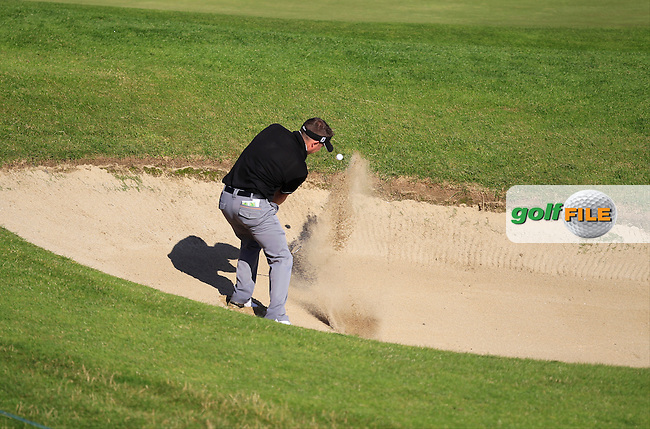 Shane Deegan (Spawell Driving Range) in a bunker on the 5th during the Johnston Mooney &amp; O'Brien PGA Challenge Round 1 at Carton House Golf Club  7th August 2013 <br /> Picture:  Thos Caffrey / www.golffile.ie