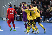 20200129 – Herentals , BELGIUM : Belgian players pictured celebrating after scoring wjth goalscorer Leo (11) during a futsal indoor soccer game between Armenia and  the Belgian Futsal Devils of Belgium on the first matchday in group B of the UEFA Futsal Euro 2022 Qualifying or preliminary round , Wednesday 29 th January 2020 at the Sport Vlaanderen sports hall in Herentals , Belgium . PHOTO SPORTPIX.BE | DAVID CATRY