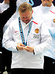 Sir Alex Ferguson manager of Manchester Unitedlooks at his winners medal during the Premier League match at The JJB Stadium, Wigan. Picture date 11th May 2008. Picture credit should read: Simon Bellis/Sportimage