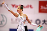 Daria Kushnerova of Ukraine...taken closeup after ribbon ribbon and Daria waves to fans at 2006 Aeon Cup Worldwide Club Championships in rhythmic gymnastics on November 19, 2006 at Mie, Japan.  (Photo note: There maybe one more to add later...)&amp;#xA;<br />