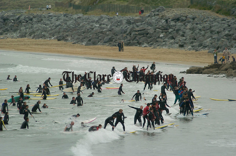 Surfers in the water about to break a world record during  Lahinch Surfschool Crew's Surfing World Record Festival at Lahinch beach. Photograph by John Kelly.