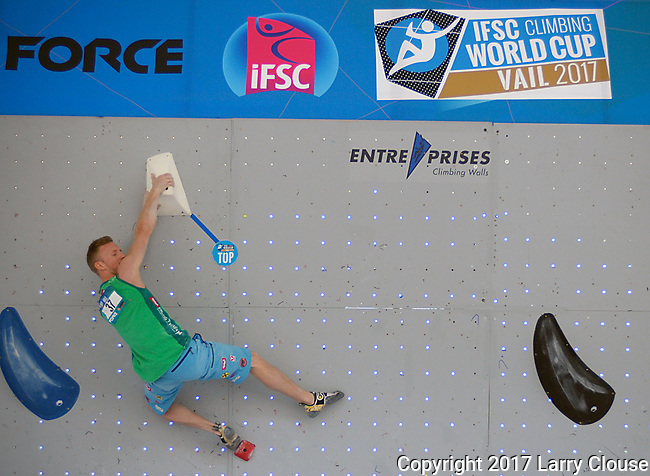 June 9, 2017 - Vail, Colorado, U.S. - Austria's, Jakob Schubert #37, tops his first climbing problem in the IFSC Climbing World Cup during the GoPro Mountain Games, Vail, Colorado.  Adventure athletes from around the world meet in Vail, Colorado, June 8-11, for America's largest celebration of mountain sports, music, and lifestyle.