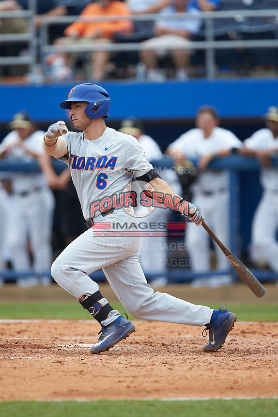 Jonathan India (6) of the Florida Gators follows through on his swing against the Wake Forest Demon Deacons in the completion of Game Two of the Gainesville Super Regional of the 2017 College World Series at Alfred McKethan Stadium at Perry Field on June 12, 2017 in Gainesville, Florida. The Demon Deacons walked off the Gators 8-6 in 11 innings. (Brian Westerholt/Four Seam Images)