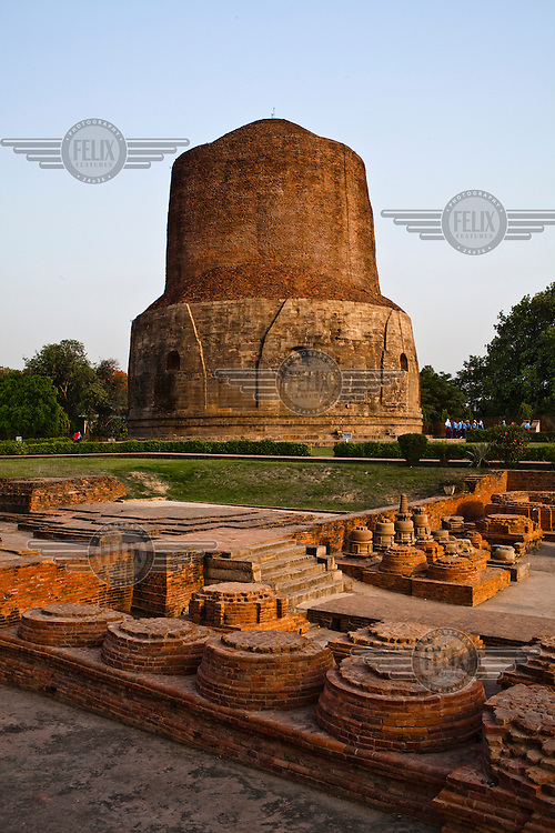 Ancient architecture at an archeological excavated area in Sarnath, Varanasi.