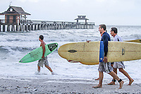 Surfer 'dudes' check out 'Isaac' waves near historic Naples Fishing Pier, Aug. 27, 2012 ... photo by debi pittman wilkey