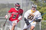 Palos Verdes, CA 03/30/10 - Deano Furkioti (Palos Verdes #3) and  Mason Uemura (Peninsula #20) in action during the Palos Verdes-Peninsula Varsity CIF Boys lacrosse game at Peninsula HS.