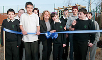 June Lynch (L) of Kwik-Fit Insurance opens sensory garden at Rutherglen High School, Cambuslang on 2 March 2011 along with Samantha Black on her 16th birthday (R) helped by other pupils from the school, Picture: Al Goold/Universal News and Sport (Europe) 2011.