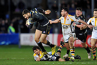 Matt Banahan of Bath Rugby takes on the Wasps defence. European Rugby Champions Cup match, between Bath Rugby and Wasps on December 19, 2015 at the Recreation Ground in Bath, England. Photo by: Patrick Khachfe / Onside Images