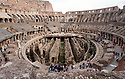 This view of the Roman Coliseum from the inside.  You can see below where the floor once was to where the competitors prepared for battle.  Built almost 2,000 years ago and the home of Gladiator games during the Roman empire.