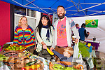 Enjoying Tralee Food Festival in the town Square on Saturday were L-r , Rachel Budd, Shanakill Community Organic Garden and Caroline Toll,KCC with Simon Moore, Oscar Moore