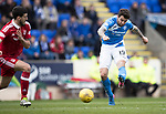 St Johnstone v Aberdeen&hellip;15.04.17     SPFL    McDiarmid Park<br />Richie Foster&rsquo;s shot is blocked<br />Picture by Graeme Hart.<br />Copyright Perthshire Picture Agency<br />Tel: 01738 623350  Mobile: 07990 594431