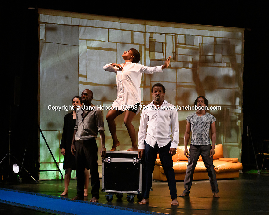 """Faso Danse Theatre/ Serge Aime Coulibaly presents """"Kalakuta Republik"""", choreographed by Aerge Aime Coulibaly, at the Royal Lyceum Theatre, as part of the Edinburgh International Festival.  The dancers are: Marion Alzieu, Serge Aime Coulabily, Adonis Nebie, Sayouba Segue, Ahmend Soura, Ida Faho. Picture shows: Marion Alzieu, Ahmend Soura, Ida Faho, Sayouba Segue, Adonis Nebie."""