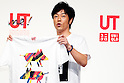 "Actor and comedian Tomonori Jinnai attends a special Uniqlo media event to promote the ""UTme!"" smart phone application on April 28, 2015. The application allows customers to upload their own designs to sell through ""UTme! Market"". Customers also can select new effects, characters and designs from Coca-Cola, Mottchy the Kakkoii-inu and fashion magazine Non-no. (Photo by Rodrigo Reyes Marin/AFLO)"