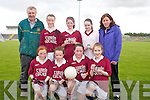 Tuirin Cathail National School football team pictured before their match with the Black Valley National School team. Pictured, front row,  from left: Fiona O'Rahilly, Chloe Fitzgerald, Rachel Fitzgerald, and Niamh Cronin. Back row: Patrick Brosnan (Trainer), Jenny Sheehan, Brenda Murphy, Grainne O'Sullivan and Margaret Fitzgerald.
