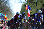 Matteo Trentin (ITA) Quick-Step Floors and World Champion Peter Sagan (SVK) Bora-Hansgrohe on pave sector 19 La Trouee d'Arenberg during the 115th edition of the Paris-Roubaix 2017 race running 257km Compiegne to Roubaix, France. 9th April 2017.<br /> Picture: ASO/P.Ballet | Cyclefile<br /> <br /> <br /> All photos usage must carry mandatory copyright credit (&copy; Cyclefile | ASO/P.Ballet)